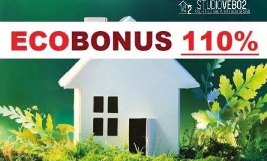 Vebo2 Ecobonus 110% DL Rilancio 2020 casa bianca su fondo vegetale verde